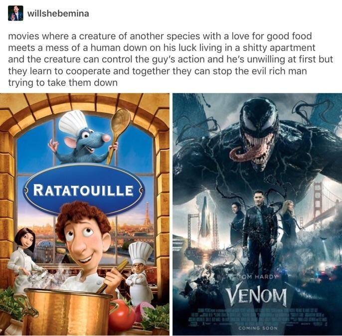 Well Technicallythetruth How Ratatouille And Venom Are The Same Movie Memes Marvel Funny Marvel Memes Funny Memes