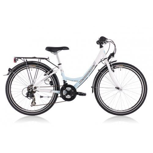 Vermont 241 childrens bike 24 inch Girl, white/light blue white/blue (2013) by Vermont. $329.99. Frame:Material type: AluminiumATB: Wave frameFork:System: rigid forkGear set:Gear type: DerailleurGear No.: 21Brand: ShimanoType: TourneyDerailleur:Version: TripleBrand: ShimanoType: TourneyGear lever:Brand: ShimanoType: Revo ShiftChainset:Brand:ProWheelKMCType:MA-P503Z51Translation sheet 1: 42Ration chainring 2: 34 gearsRation chainring 3: 24Inner bearing:Brand: ThunSystem: Cartrid...