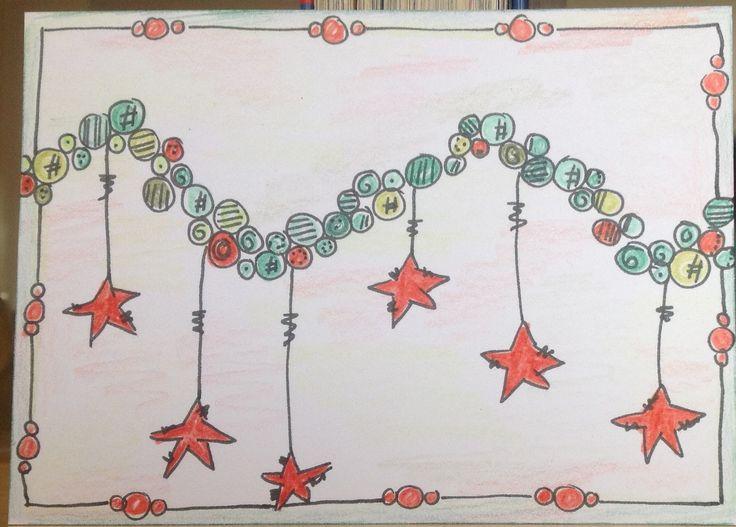 Zelfgemaakt patroon, inspiratie van Jofy. Eerste kaart met traditionele kerstkleuren.