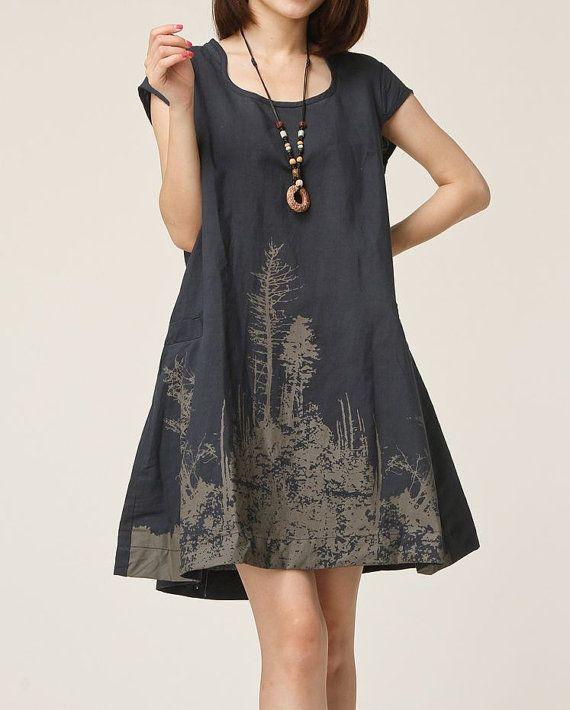 Dark green linen dress maxi dress cotton dress casual loose cotton skirt linen blouse large size dress sundress summer dress plus size dress on Etsy, $59.00