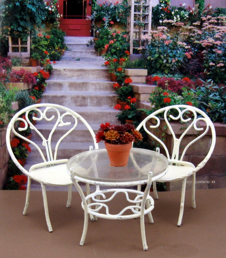 Vintage Dollhouse Miniature Wrought Iron Patio Furniture Table Chairs.  $24.00, Via Etsy. |