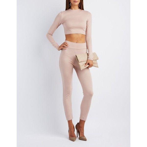 Charlotte Russe Mock Neck Crop Top & Leggings Hook-Up ($35) via Polyvore featuring pants, leggings, nude, zipper leggings, wide-waistband leggings, charlotte russe leggings, nude leggings and high-rise leggings
