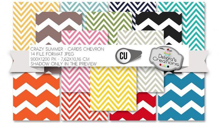 Crazy Summer Cards Chevron by Debora's Creations (CU)