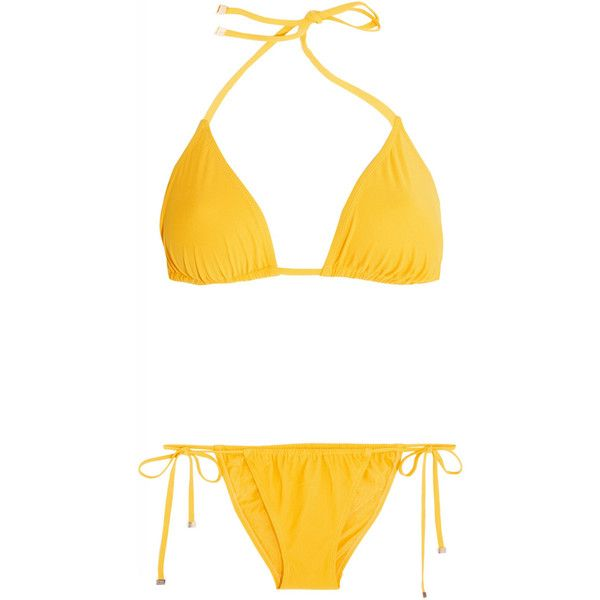 Dolce & Gabbana Triangle bikini (1.090 HRK) ❤ liked on Polyvore featuring swimwear, bikinis, bikini, swimsuits, swim, bathing suits, yellow, triangle swim wear, yellow bikini and bikini swimsuit