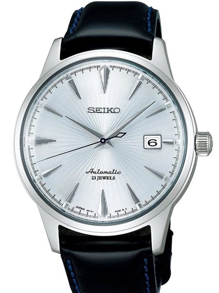 The Seiko SARB065 is powered by the premium Seiko 6R15 caliber self-winding movement that can also be hand wound and hacked. It features luminous hands, date display, a leather strap with a deployant clasp, and a 50 hour power reserve.