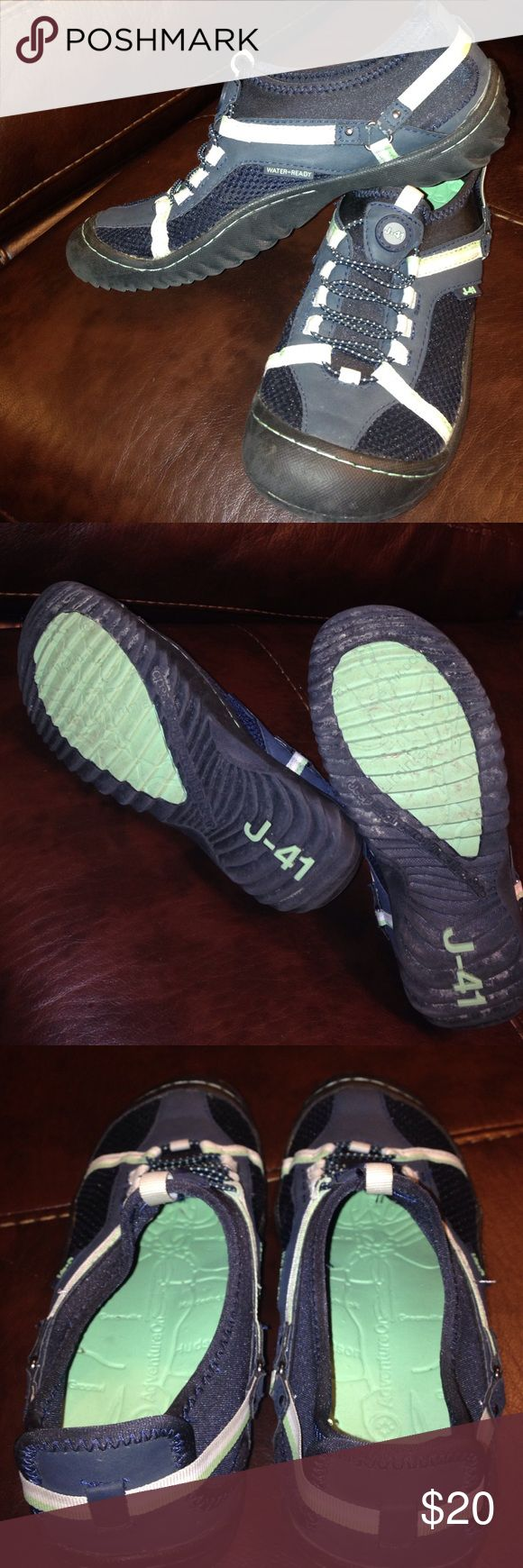 J-41 water shoes 7M Women's Blue, mint and white women's size 7M water shoes. Worn just a few times. Clean inside. Typical wear evident on bottom. J-41 Jeep Tahoe shoes Jeep Shoes Athletic Shoes
