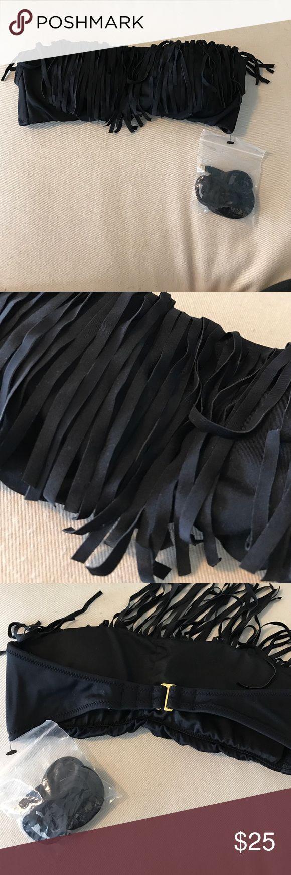 VS Swim Top XS Fringe Victoria's Secret Swim Top with straps still attached! Never worn! They don't make their Swim line anymore! Check out my bundle deals! Victoria's Secret Swim Bikinis