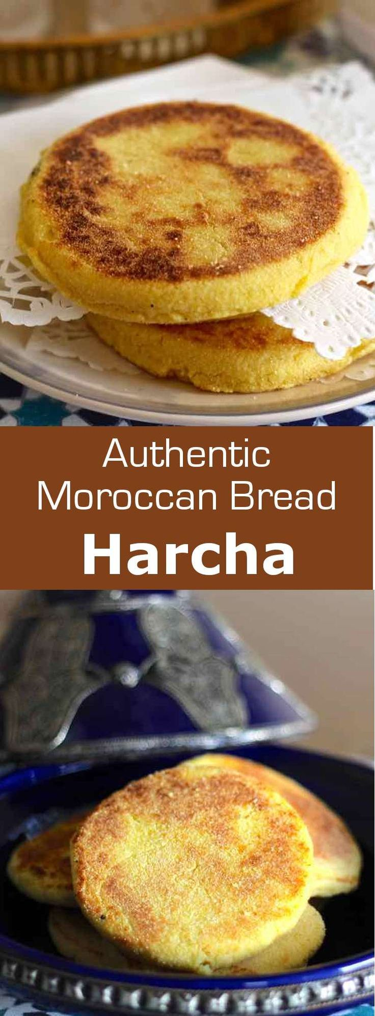 Harcha (حرشة) is a Moroccan bread that takes the shape of a galette and is prepared with semolina and butter or olive oil. #Moroccan #Morocco #196flavors