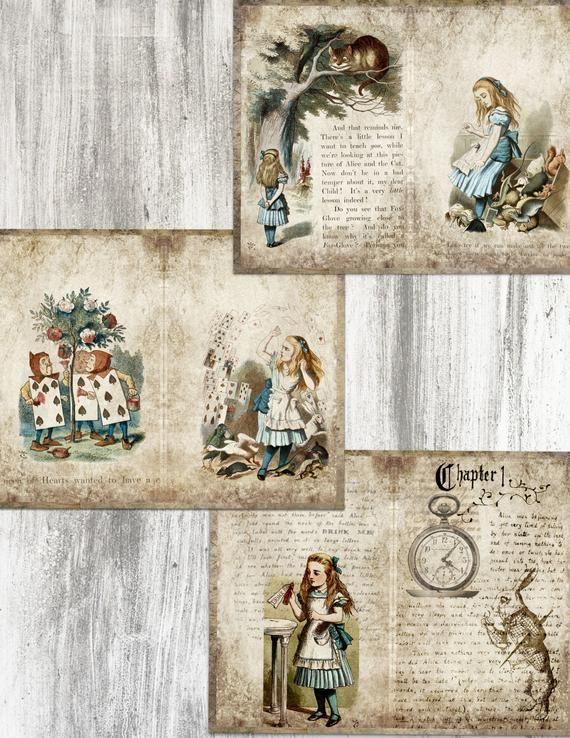 Junk Journal Kit Alice In Wonderland Printable Pages For Etsy In 2020 Alice In Wonderland Vintage Junk Journal Clip Art Vintage