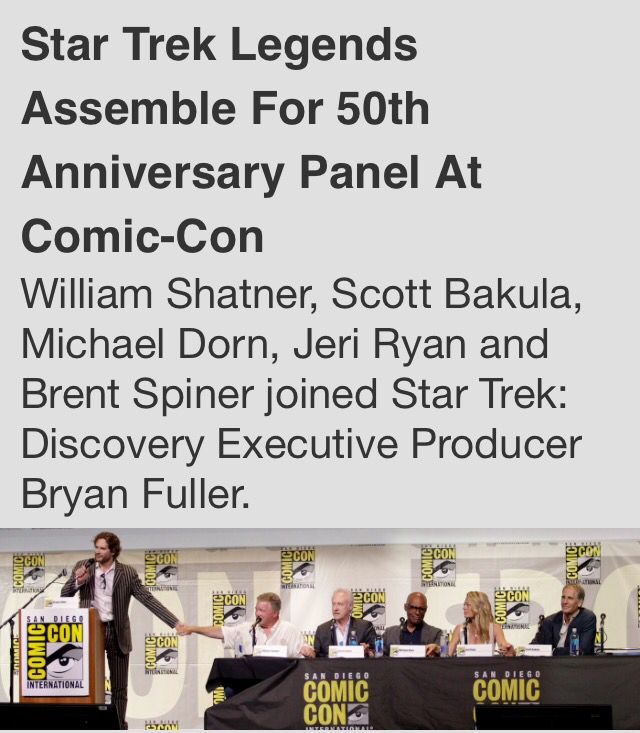 Star Trek Legends Talk About 50 years of legacy At Comic Con  Link:  http://www.cbs.com/shows/star-trek-discovery/news/1005470/star-trek-legends-assemble-for-50th-anniversary-panel-at-comic-con/