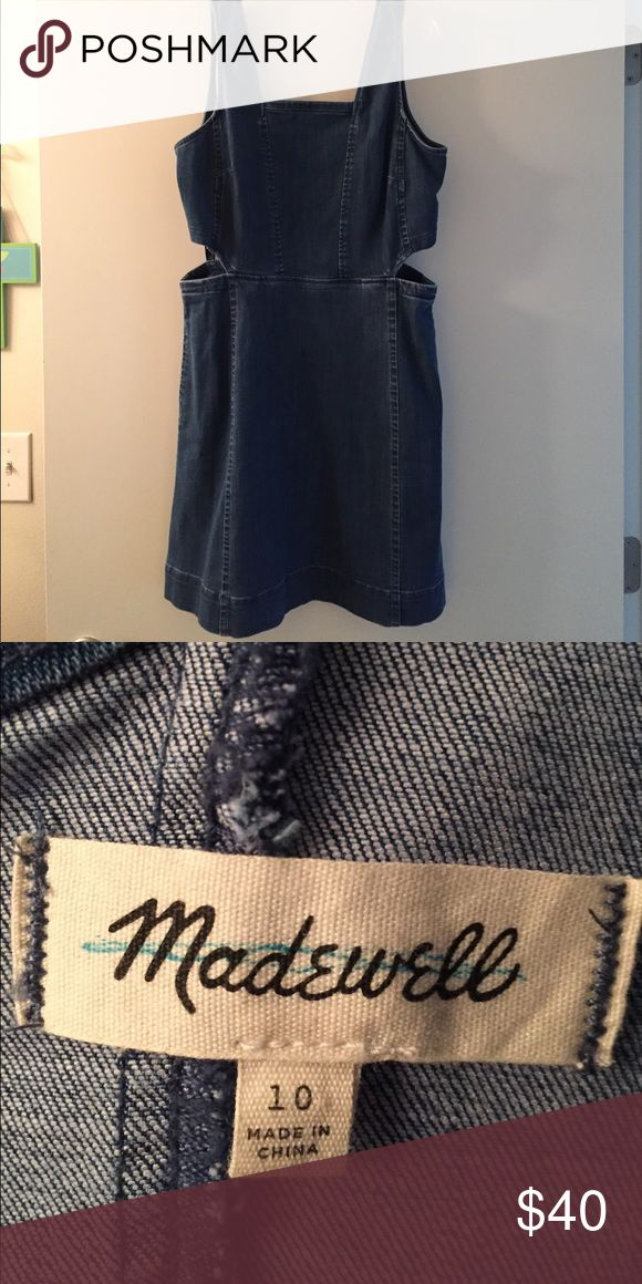 Madewell denim cutout dress Cute fitted Madewell dress with side cut-outs. Dress it up for a night out or down for a week day. Madewell Dresses Mini