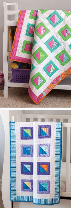Shadow Boxes from Easy Quilts Fall 2013 is a baby quilt pattern featuring quilt blocks made from squares with triangle-square centers. Quilt by Tony Jacobson.