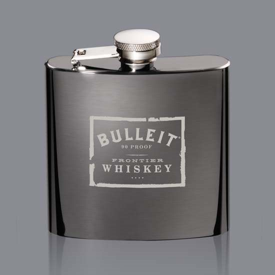 Raven Hip Flask - Black Nickel