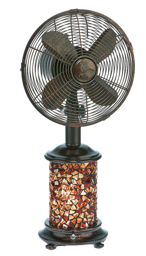 Metropolitan Bronze 10 Inch Mosaic Gl Oscillating Table Fan W Lamp