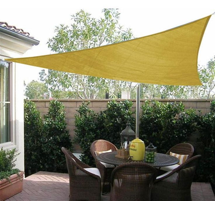 Outsunny 16.5u0027 Triangle Sun Shade Sail Canopy   Sand