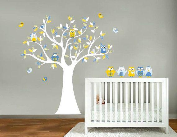 Nice Children tree decal Nursery wall decal Owl tree by wallinspired
