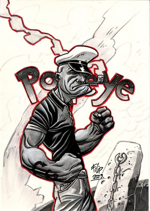 Created using ink, grey copic markers and pencils. 15 Illustrations Inspired by Popeye the Sailor Man #art #illustration