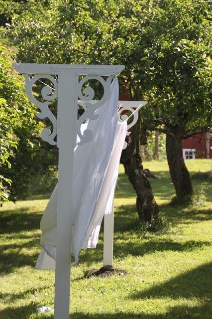 Country clothes line. What a cute idea to make it appealing to the the eye!