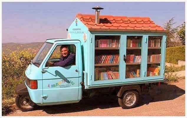 Antonio de Cava is a retired teacher. In 2003, he bought a second-hand motorbike and modified it to create a portable library that contains 700 books.  Each week he drives to the villages in the region of Basilicata in southern Italy. The sound of an organ announces his arrival. When they hear the song, excited children run to the mobile library for their next book. Antonio travels over 300 miles a month without any compensation, just to make children smile and invest in their futures.