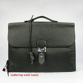 Hermes Leather bag Hermes handbag black colour man leather Work Package handbags Gentleman package