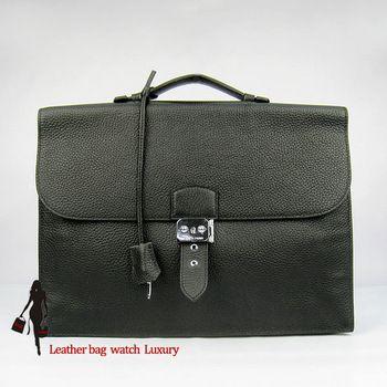 Hermes Leather bag Hermes handbag black colour man leather Work Package handbags Gentleman package
