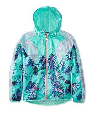 11% OFF PUMA Women's Tropical Windbreaker Jacket (Electric Green/All Over Print)