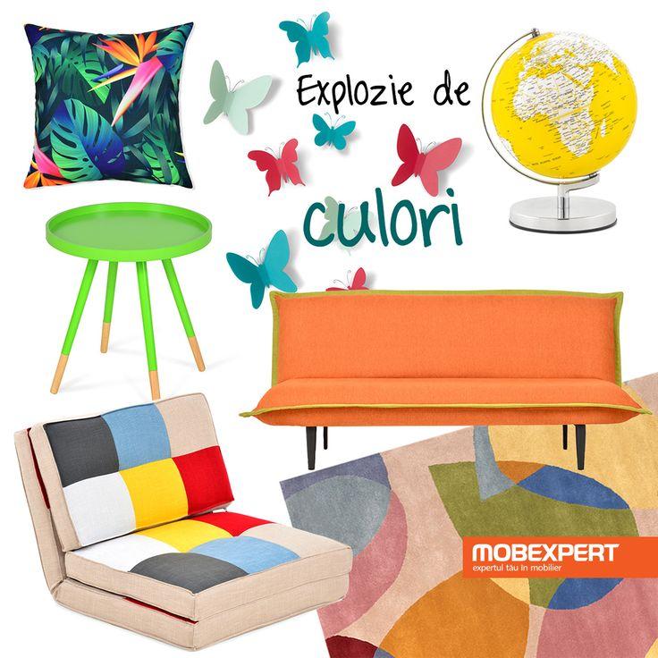 Idei colorate pentru un living amenajat într-un stil vesel. #decoideea #moodboard #living
