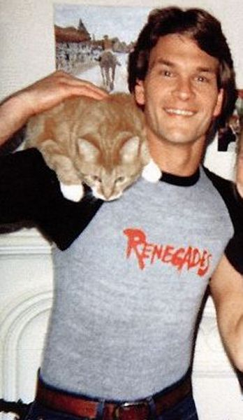 And now for no particular reason,here is Patrick Swayze wearing a cat.