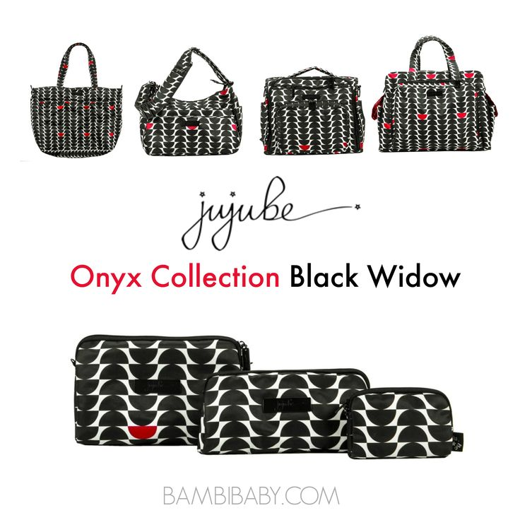 Jujube Onyx Collection Black Widow. Diaper bags and gear for trendy, modern moms! Perfect for carrying baby items... and yours, too! #jujube #diaperbag