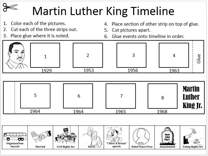 Martin Luther King Week Timeline using Brain POP video clip
