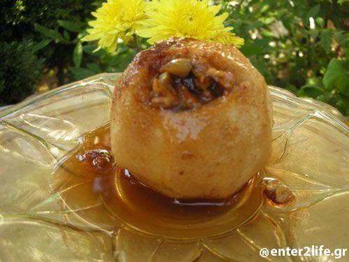 Μήλα ψητά γεμιστά με καρύδια www.enter2life.gr