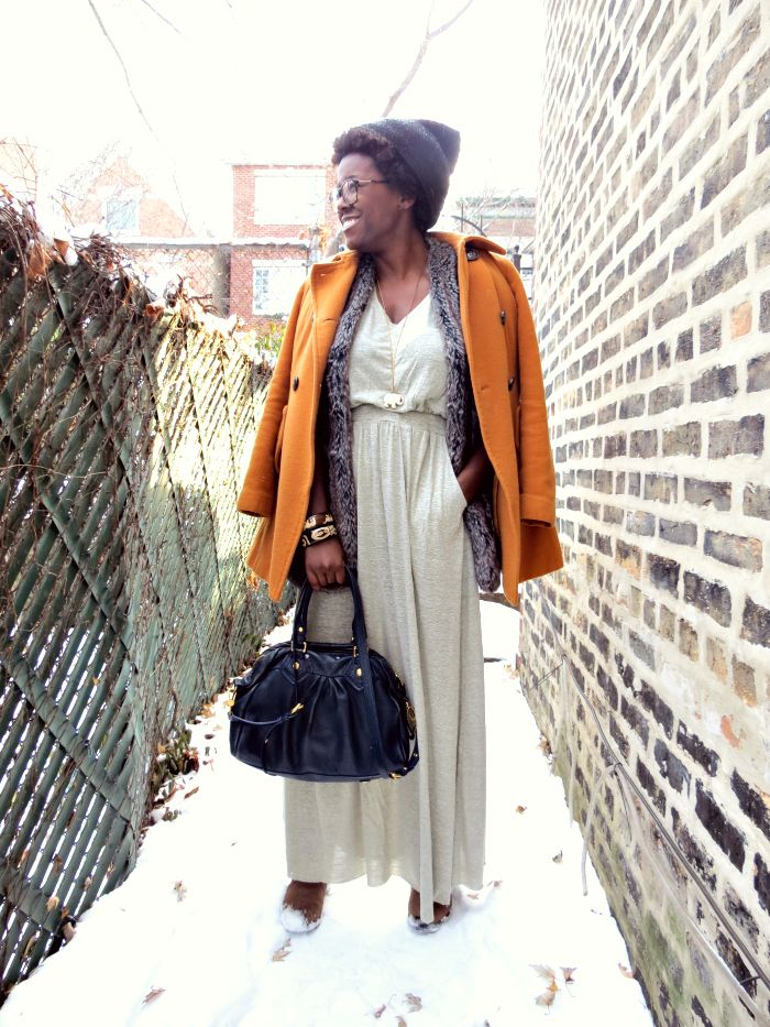 bright winter coat, winter maxi dress
