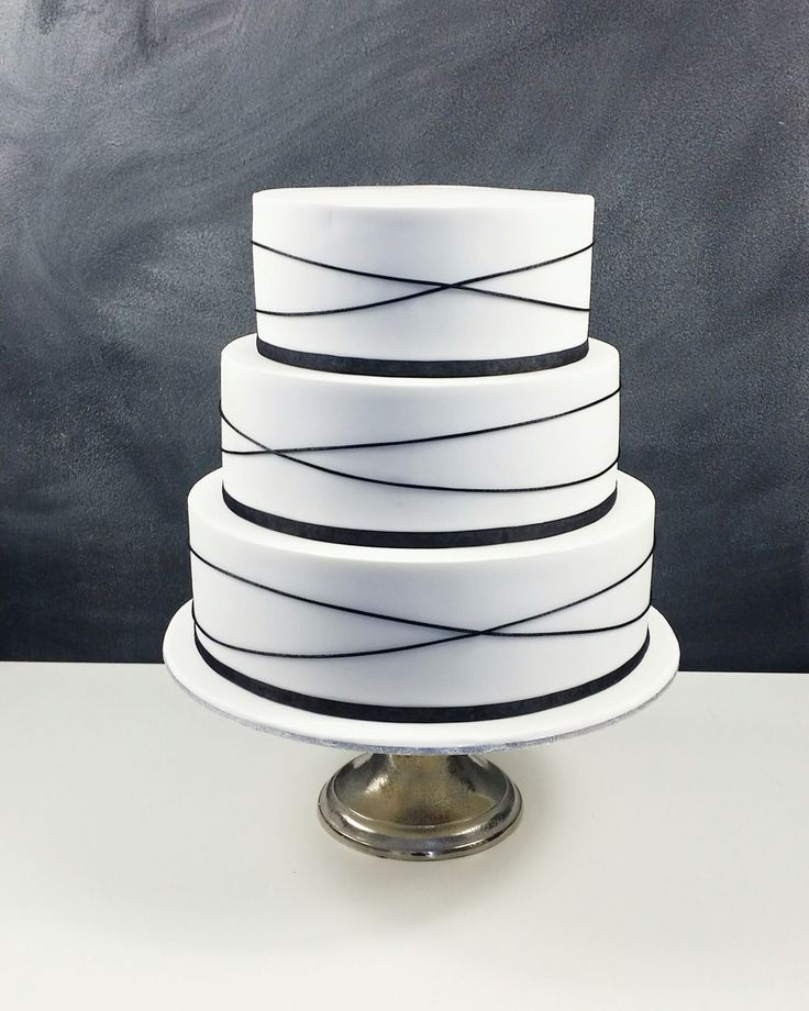 Elegant 3 tier Wedding Cake - black and white themed Mississippi Mud Cake