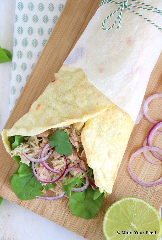 Spelt wrap met tonijn en avocado - Mind Your Feed