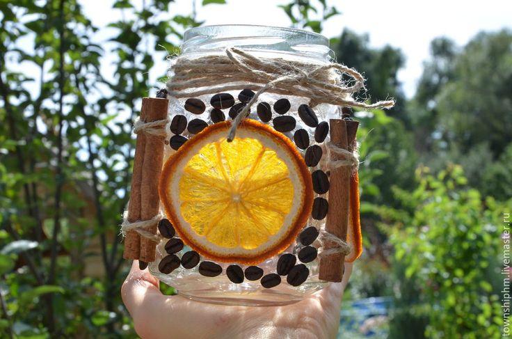 Декорирование стеклянной баночки в осеннем эко-стиле - Ярмарка Мастеров - ручная работа, handmade