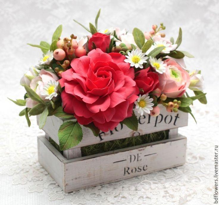 """Купить Цветочная композиция из полимерной глины """"Flower Pot"""" - ярко-красный, полимерная глина deco"""