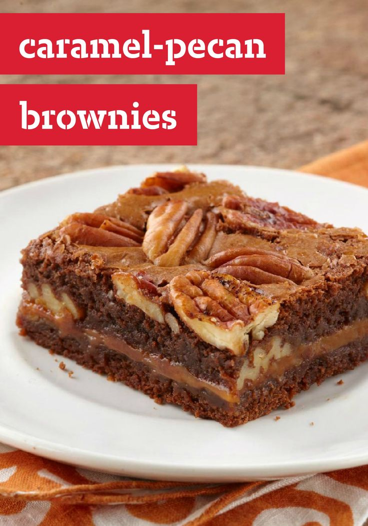 Caramel-Pecan Brownies -- Gooey chocolate, melty caramel, crunchy pecans: Baker, prepare to take a bow as this brownie recipe becomes the star of the dessert table.