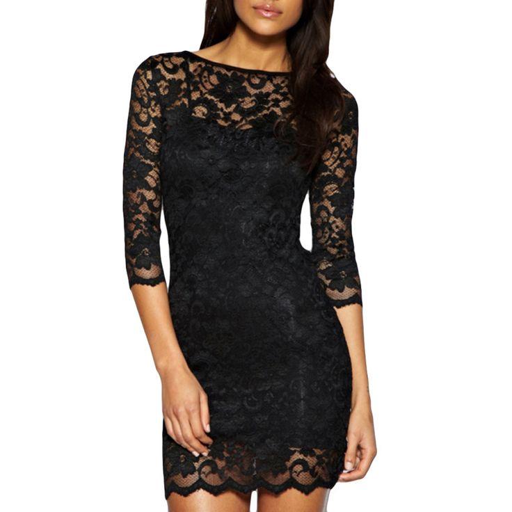 Goedkope Mode Vestidos Vrouwen Winter Jurk 2016 Sexy Wit Zwart Bloemen Kant Jurk Lange Mouwen Bodycon Jurken Plus Size, koop Kwaliteit jurken rechtstreeks van Leveranciers van China: