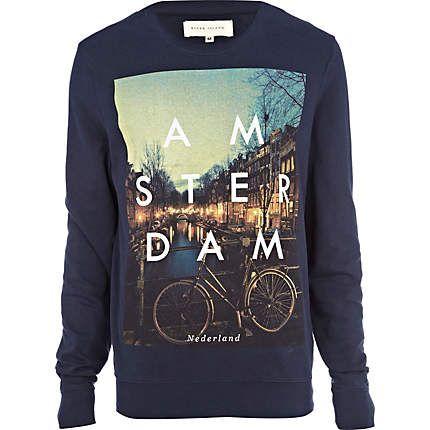 navy amsterdam print sweatshirt - sweatshirts - hoodies / sweatshirts - men - River Island ($20-50) - Svpply