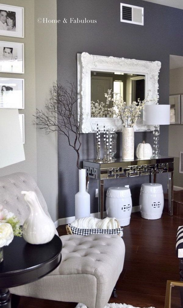 Gray Painting Wall Living Room.