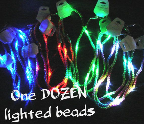 One DOZEN LED Mardi Gras Beads with flashing lights and by ExGlow