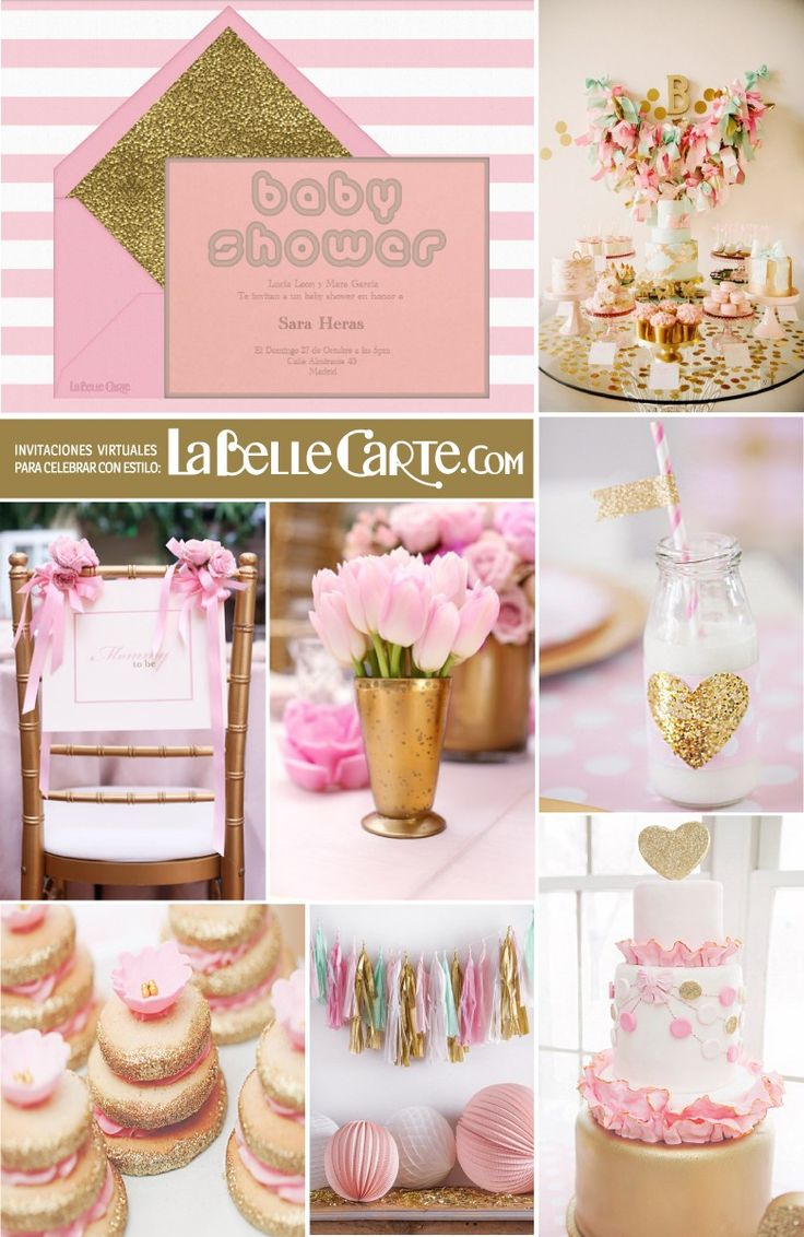 Invitaciones para baby shower invitaciones de baby shower - Decoracion de cumpleanos rosa y dorado ...