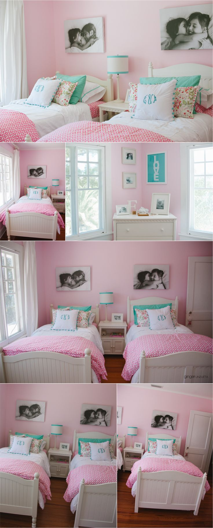Such a cute shared girls room. Maybe if my sister and I had a room this cute there would have been less fights. Love this room!
