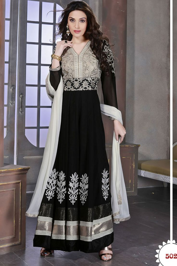 Black Anarkali Churidar Suit and Off White Dupatta Price: NOW: £49.00 Be the center of attraction with fancy anarkali churidar collection are now in store like Black Anarkali Churidar Suit and Off White Dupatta. Dress is embellished with Embroidered, Patch, Resham work and Full Sleeve Kameez, Floor Length Kameez, V Neck Kameez. This design is presented by Andaaz Fashion and prefect for Party, Wedding, Festival, Ceremonial
