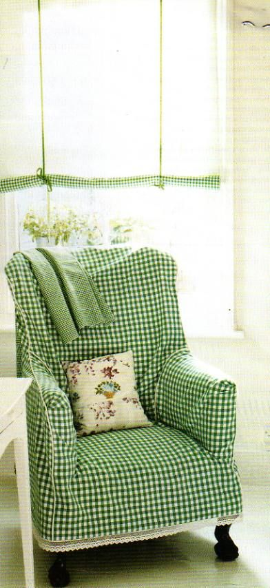 gingham slipcovered chair and gingham trimmed roll-up shade--love the lace peeking out