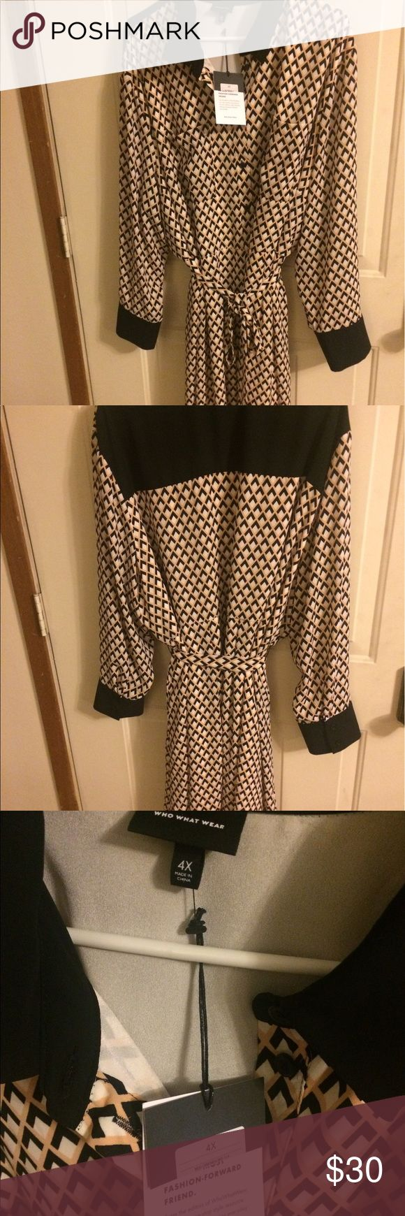 Who What Wear long sleeve dress size 4x Brand new with tags long sleeve flowy dress buttons all the way up includes a little sash/belt that matches has black detailing on the sleeves the collar and back who what wear Dresses Long Sleeve