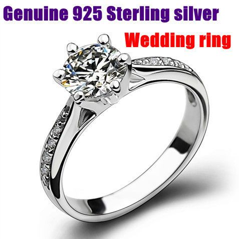 6 2016 New wholesale 100% Real Pure 925 Sterling Silver Six Claw Zircon Elegant Women Engagement Wedding Ring.aneis de diamante