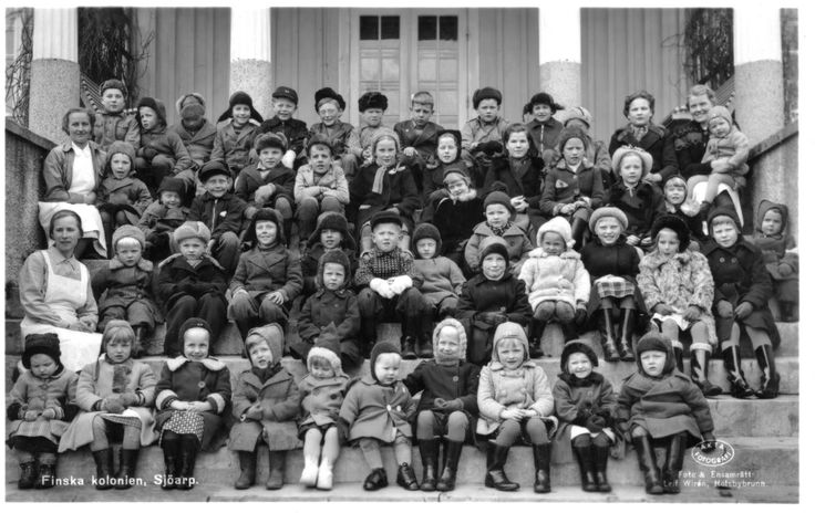 Finnish war children in Sjöarp, Sweden. They're so small some of them... That front row. Aww.
