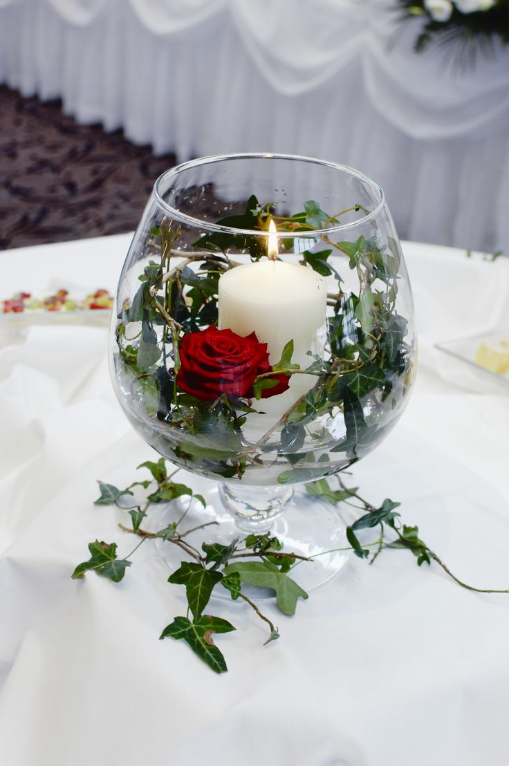 Candle in glass bowl