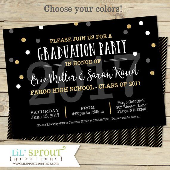 Printable Graduation Invitation Joint Graduation Party Invitation Diy Open House Graduation Invitation Class Of 2020 Black Gold Printable Graduation Invitation Graduation Invitations Graduation Party Invitations Diy